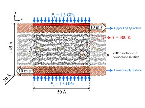 Molecular Dynamics simulation of ZDDP effects on friction in nano-scale lubricated contacts